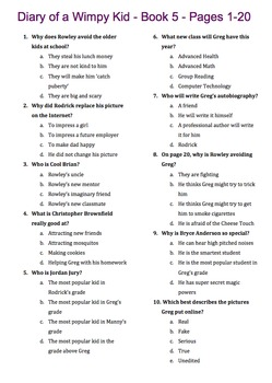 Diary of a Wimpy Kid - Book 5 - The Ugly Truth - Multiple Choice 11 Quizzes