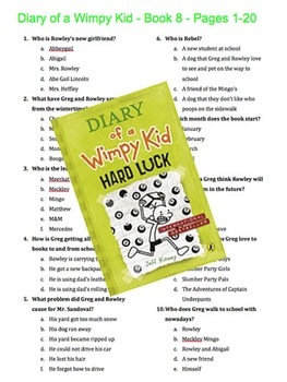 Diary of a Wimpy Kid - Book 8 - Hard Luck - Multiple Choice Quiz