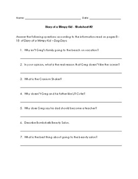 Diary of a Wimpy Kid - Dog Days Worksheets