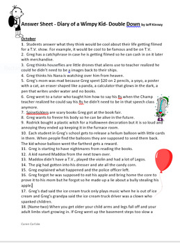 Diary Of A Wimpy Kid Double Down 11 Q A Sheets 2 Opinion Writing