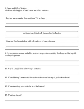 Diary of a Wimpy Kid Literature Packet - Cause/Effect Skill
