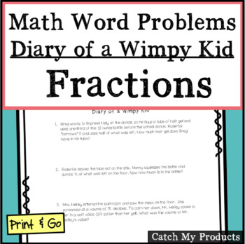 Diary of a Wimpy Kid Math Word Problems (Fraction Operations)