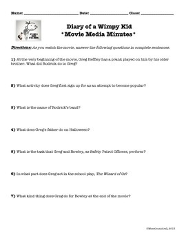 Diary of a Wimpy Kid ~ Movie Questions & Extended Response Prompts