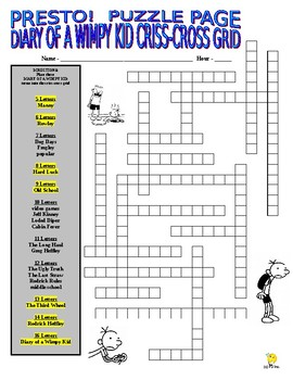 Diary of a Wimpy Kid Puzzle Page (Wordsearch and Criss-Cross)
