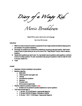 Diary of a Wimpy Kid-Questions and Breakdown