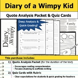 Diary of a Wimpy Kid - Quote Analysis & Reading Quizzes