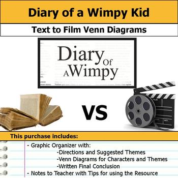 Diary of a Wimpy Kid - Text to Film Venn Diagram & Written Conclusion