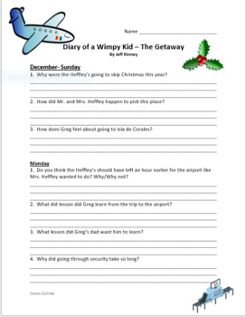 Diary of a Wimpy Kid - The Getaway Question and Answer Sheets