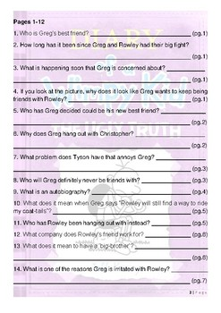 Diary of a Wimpy Kid - The Ugly Truth - Questions and Vocabulary