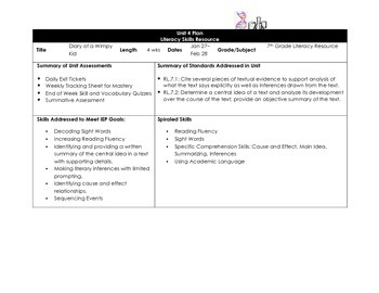 Diary of a Wimpy Kid - Unit Plan for pages 1 - 76