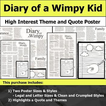 Diary of a Wimpy Kid - Visual Theme and Quote Poster for Bulletin Boards