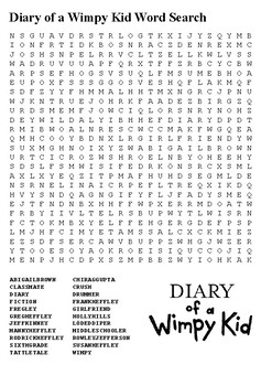Diary of a Wimpy Kid Word Search