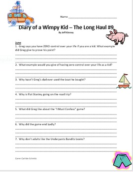 The Diary Of A Wimpy Kid Comprehension Questions