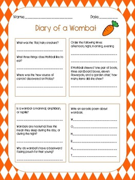 Diary of a Wombat Multi-Subject Worksheet