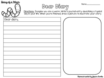 Diary of a Worm Activity Packet