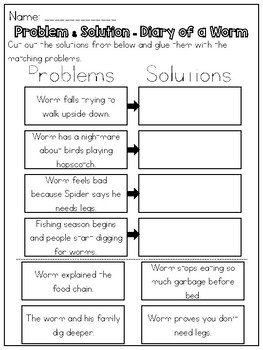 Diary of a Worm - Problem & Solution Worksheet by Kmwhyte's Kreations