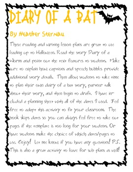 Diary of a Worm - Reading & Writing Lesson Plans - also great for sub plans!