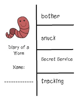 Diary of a Worm Vocabulary and Spelling