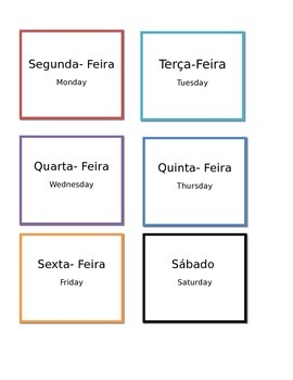 Dias da Semana flash cards