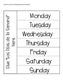 Días de la Semana Days of the Week Spanish Interactive Notebook