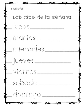 dias de la semana days of the week tracing page in spanish by leigh sanna. Black Bedroom Furniture Sets. Home Design Ideas