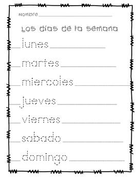 Dias de la semana: Days of the Week Tracing Page in Spanish
