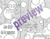 Dias de la semana - Days of the week Spanish Adult Coloring Page