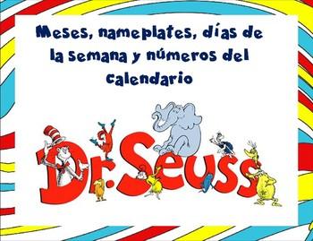 Días , meses, números para calendario y nameplates - Dr. Seuss