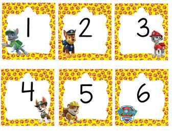 Días, meses, números para el calendario y nameplates Motivo Paw Patrol