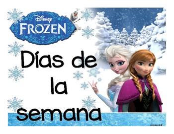 Días, meses y números calendario Frozen