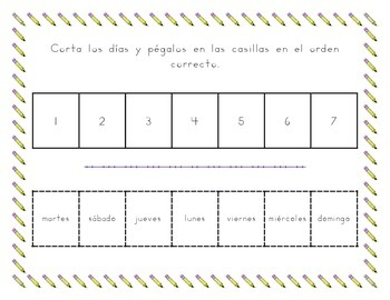 Días y Meses Days and Months in Spanish tracing worksheets