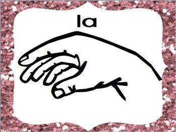 Diatonic Solfege Signs (Pink Glitter Theme)