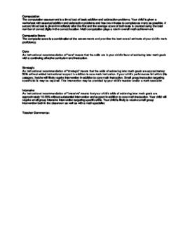 Dibels Math Parent Paper for 1st grade First Benchmark