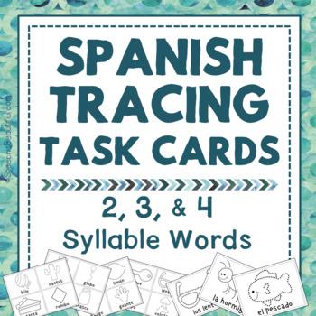 Dibuja Las Sílabas: Multisyllabic Words Tracing Task Cards