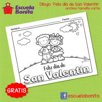 Dibujo para colorear ¨Feliz día de San Valentín¨ - Valentine\'s Day
