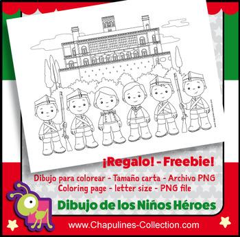 Dibujo para colorear Niños Héroes - Coloring Page The Boy Heroes of Chapultepec