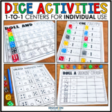 Dice 1:1 Centers for Individual Use | First Grade Math Worksheets