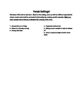 Dice Activity: Vocab Settings!