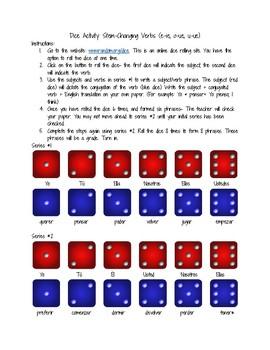 Dice Activity for Stem-Changing Verbs e-ie, o-ue, u-ue