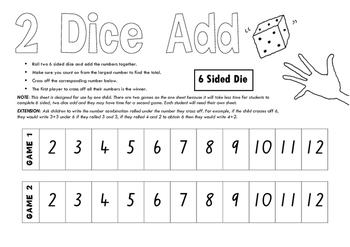 Dice Add (2 x 6 sided dice, 3 x 6 sided & 3 x 9 sided)