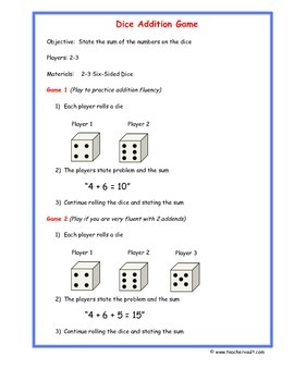 Dice Addition Game - Math Centers