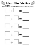 Dice Addition Practice Page