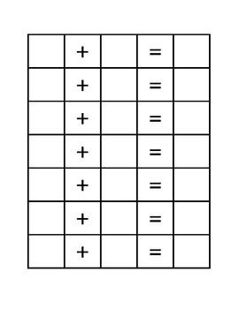 Dice Addition Problem Sheet