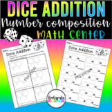 Dice Addition MATH CENTER Roll & Write Number Sentences K 1 Distance Learning