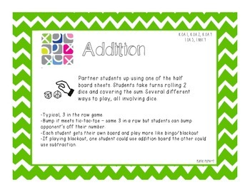 Dice Addition & Subtraction Tic-Tac-Toe