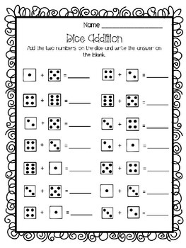dice addition worksheet by teaching tools by suzie tpt. Black Bedroom Furniture Sets. Home Design Ideas
