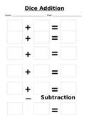 Dice Addition and Subtraction Center