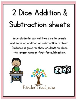 Dice Addition and Subtraction recording sheets