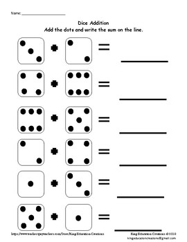 Dice Addition with Dots in Random Order