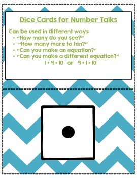 Dice Card Flashcards for Number Talks